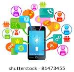 social network telephone.... | Shutterstock .eps vector #81473455