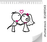 cartoon wedding couple on... | Shutterstock .eps vector #81489343