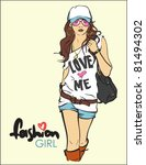 sexy fashion girl in sketch... | Shutterstock .eps vector #81494302