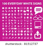 100 everyday white icons  signs ...