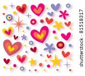 hearts flowers stars seamless background - stock vector