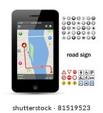 phone navigation with road sign | Shutterstock .eps vector #81519523