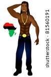 Raster version Illustration of an Afrocentric Rasta man with African map. - stock photo