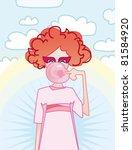 hipster girl blows bubble gum... | Shutterstock .eps vector #81584920