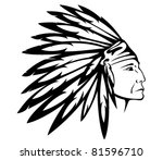red indian chief wearing... | Shutterstock .eps vector #81596710
