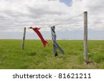 Stock photo clothes drying on prairie farm on windy day 81621211