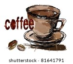 coffee  coffee beans. | Shutterstock .eps vector #81641791