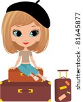 pretty girl sits on a suitcase. ...   Shutterstock .eps vector #81645877