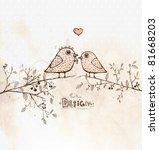 Vintage Card With Cute Birds O...