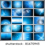 Big set of blue technical backgrounds. Vector illustration eps 10