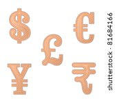 illustration  of set of bandage in different currency shape - stock vector