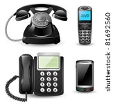 vector telephone sets isolated... | Shutterstock .eps vector #81692560