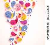 happy abstract characters colorful background - stock vector