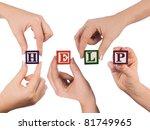hand and word help isolated on... | Shutterstock . vector #81749965
