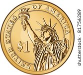 Vector American money, one dollar coin with the image of the Statue of Liberty - stock vector
