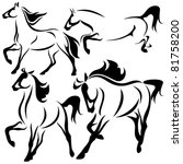 Stock vector set of fine horses outlines vector collection 81758200