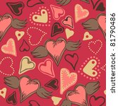 seamless doodle hearts on pink... | Shutterstock . vector #81790486