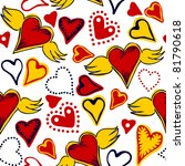 seamless doodle hearts   white  ... | Shutterstock . vector #81790618