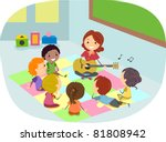 Illustration of Kids Listening to Their Teacher Play the Guitar - stock vector