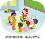 illustration of kids listening... | Shutterstock .eps vector #81808942