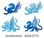 blue mighty dragon silhouettes | Shutterstock .eps vector #81822772
