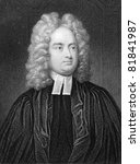 Jonathan Swift (1667-1745) Engraved by W.Holl and published in The Gallery Of Portraits With Memoirs encyclopedia, United Kingdom, 1833. - stock photo