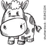 Cute Doodle Sketch Cow Vector...