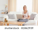 beautiful woman with a laptop... | Shutterstock . vector #81862939