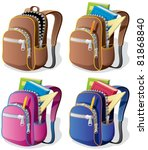 school backpack in 4 different... | Shutterstock .eps vector #81868840