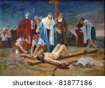 11th Station of the Cross - Crucifixion: Jesus is nailed to the cross - stock photo