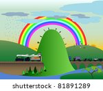 train and rainbow   Shutterstock .eps vector #81891289
