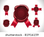 vector wax seal with ribbons | Shutterstock .eps vector #81916159