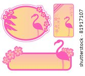 Set Of Labels With Flamingos