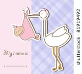 baby arrival card with stork... | Shutterstock .eps vector #81919492