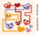 cartoon hearts in love - stock vector