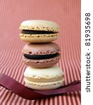 traditional french dessert  colorful macarons - stock photo