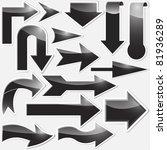 set of black arrows stickers.... | Shutterstock .eps vector #81936289