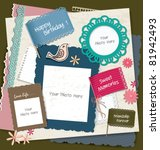note papers  photo frames  ... | Shutterstock .eps vector #81942493