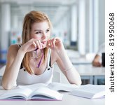 in the library   pretty female... | Shutterstock . vector #81950068