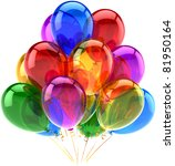 balloons party happy birthday... | Shutterstock . vector #81950164