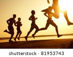 group of young people runs at... | Shutterstock . vector #81953743