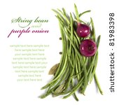 String bean and purple onion on the white with copyspace. Top view. - stock photo