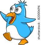 Crazy Insane Penguin Vector Illustration - stock vector