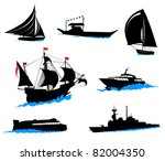 silhouettes of offshore ships   ... | Shutterstock .eps vector #82004350