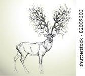 deer with antler like tree  ... | Shutterstock .eps vector #82009303