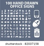 100 hand drawn office icons ...