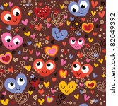 colorful hearts seamless pattern - stock vector