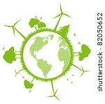 Environmental and ecology earth globe alternative energy vector concept background - stock vector