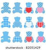 twelve blue teddy bears with... | Shutterstock . vector #82051429