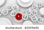 A Mechanical Background with Gears and Cogs 3d - stock photo